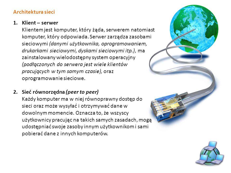 Karta sieciowa Każdy komputer w sieci lokalnej jest wyposażony w kartę sieciową, która umożliwia połączenie z innymi komputerami za pomocą mediów sieciowych Karta sieciowa Ethernet Karta sieciowa bezprzewodowa Karta sieciowa USB Karta sieciowa do notebooka