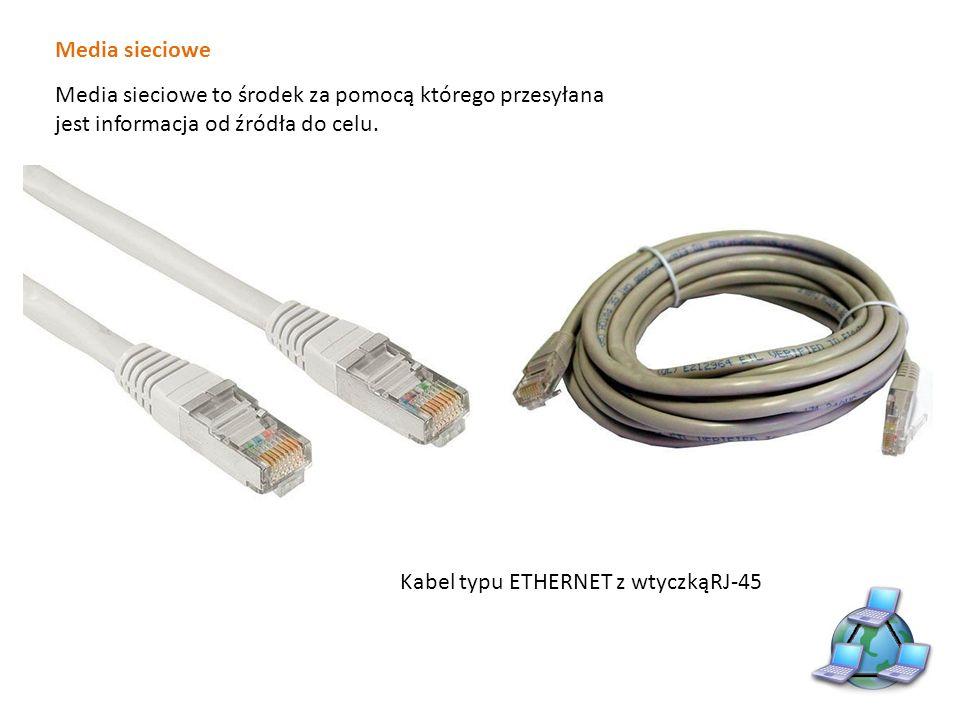 Media sieciowe Przewód ethernet (skrętka) w zależności od zastosowania może być prosty (straicht – thru) lub krzyżowy (cross – over).