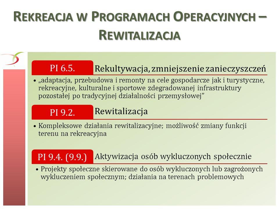 R EKREACJA W P ROGRAMACH O PERACYJNYCH – R EWITALIZACJA Rekultywacja, zmniejszenie zanieczyszczeń PI 6.5. adaptacja, przebudowa i remonty na cele gosp
