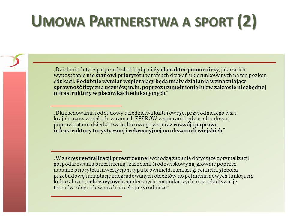 S PORT JAKO ELEMENT KOMPLEKSOWYCH PROJEKTÓW Sport (Rekreacja) Edukacja, infrastruktura przyszkolna, zajęcia sportowe Rewitalizacja, tereny zielone Transport przyjazny środowisku (rowerowy) Aktywność fizyczna, zdrowie Włączenie społeczne, integracja Turystyka, infrastruktura turystyczna