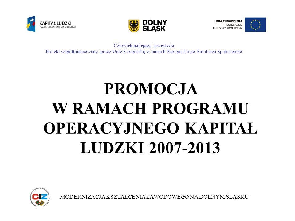Człowiek najlepsza inwestycja Projekt współfinansowany przez Unię Europejską w ramach Europejskiego Funduszu Społecznego MODERNIZACJA KSZTAŁCENIA ZAWODOWEGO NA DOLNYM ŚLĄSKU PROMOCJA W RAMACH PROGRAMU OPERACYJNEGO KAPITAŁ LUDZKI 2007-2013