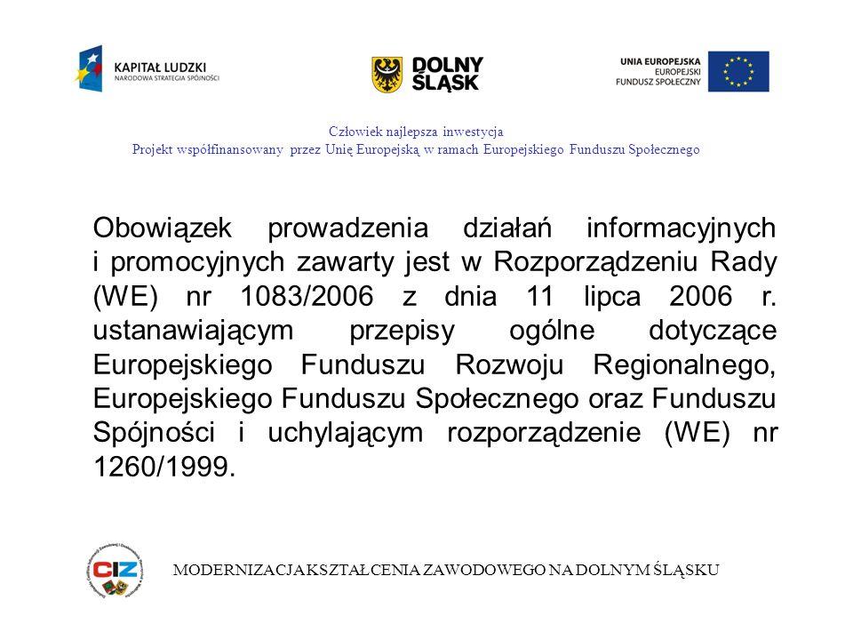 Człowiek najlepsza inwestycja Projekt współfinansowany przez Unię Europejską w ramach Europejskiego Funduszu Społecznego MODERNIZACJA KSZTAŁCENIA ZAWODOWEGO NA DOLNYM ŚLĄSKU Obowiązek prowadzenia działań informacyjnych i promocyjnych zawarty jest w Rozporządzeniu Rady (WE) nr 1083/2006 z dnia 11 lipca 2006 r.
