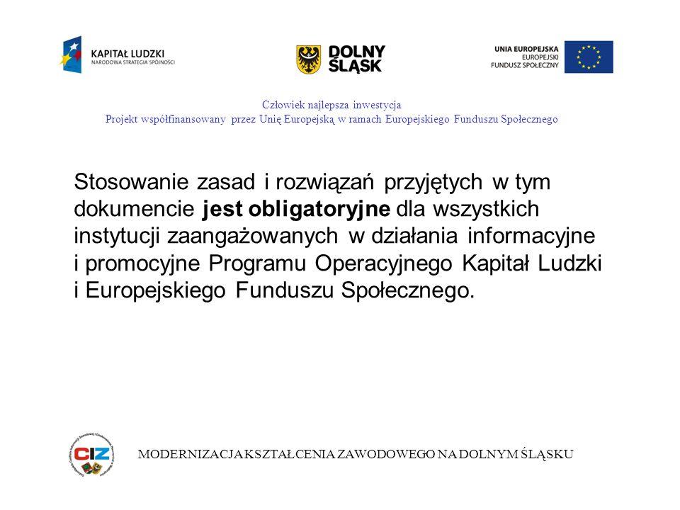 Człowiek najlepsza inwestycja Projekt współfinansowany przez Unię Europejską w ramach Europejskiego Funduszu Społecznego MODERNIZACJA KSZTAŁCENIA ZAWODOWEGO NA DOLNYM ŚLĄSKU Integralną częścią Planu komunikacji PO KL są Wytyczne dotyczące oznaczania projektów w ramach Programu.