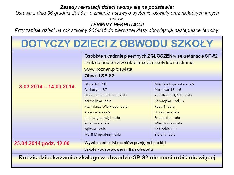 DOTYCZY DZIECI SPOZA OBWODU SZKOŁY 3.03 – 28.03.2014 składanie pisemnych WNIOSKÓW i dodatkowych dokumentów w sekretariacie SP -82 RODZIC MOŻE SKŁADAĆ WNIOS EK DO TRZECH WYBRANYCH SZKÓŁ 31.