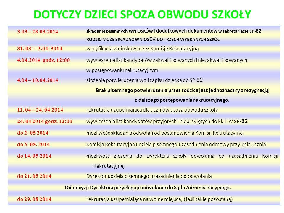 DOTYCZY DZIECI SPOZA OBWODU SZKOŁY 3.03 – 28.03.2014 składanie pisemnych WNIOSKÓW i dodatkowych dokumentów w sekretariacie SP -82 RODZIC MOŻE SKŁADAĆ