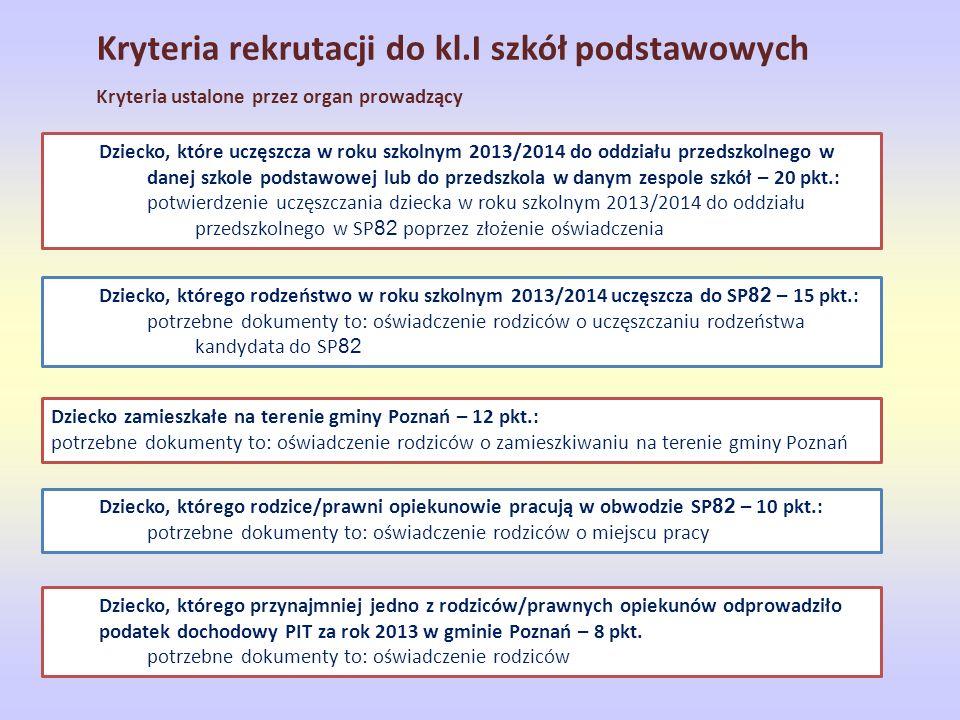 Kryteria rekrutacji do kl.I szkół podstawowych Kryteria ustalone przez organ prowadzący Dziecko, które uczęszcza w roku szkolnym 2013/2014 do oddziału