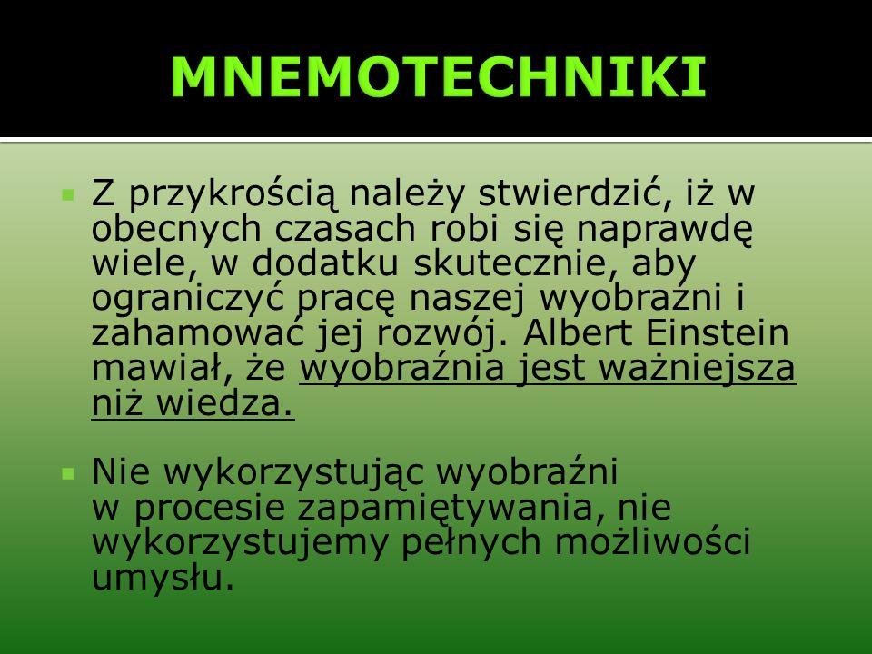 Metoda Miejsc Metoda Miejsc wykorzystuje fenomenalną ludzką pamięć przestrzenną.