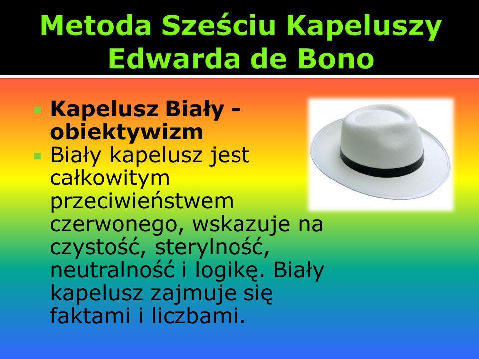 Kapelusz Biały - obiektywizm Biały kapelusz jest całkowitym przeciwieństwem czerwonego, wskazuje na czystość, sterylność, neutralność i logikę. Biały