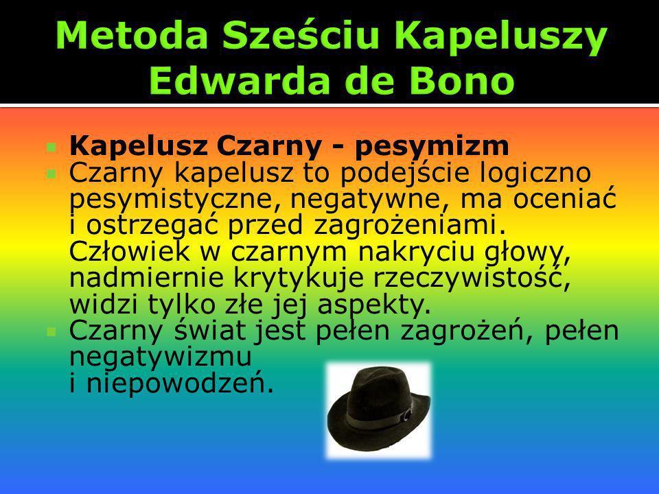 Kapelusz Czarny - pesymizm Czarny kapelusz to podejście logiczno pesymistyczne, negatywne, ma oceniać i ostrzegać przed zagrożeniami. Człowiek w czarn