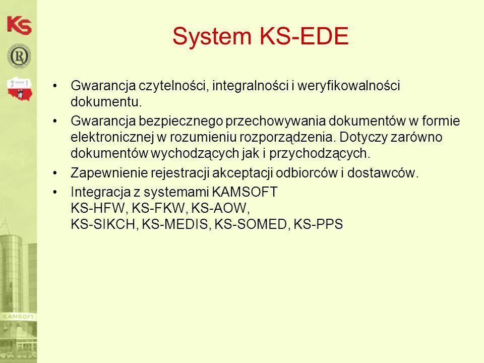 System KS-EDE Nowy format KS-XML gwarantujący: Czytelność dokumentu, Możliwość dowolnego kształtowania wyglądu, Możliwość podpisania dokumentu, bezpiecznym i kwalifikowanym podpisem elektronicznym w rozumieniu rozporządzenia, Zapewnienie integralności, Jeden plik z fakturą, również do wczytywania danych do systemu.