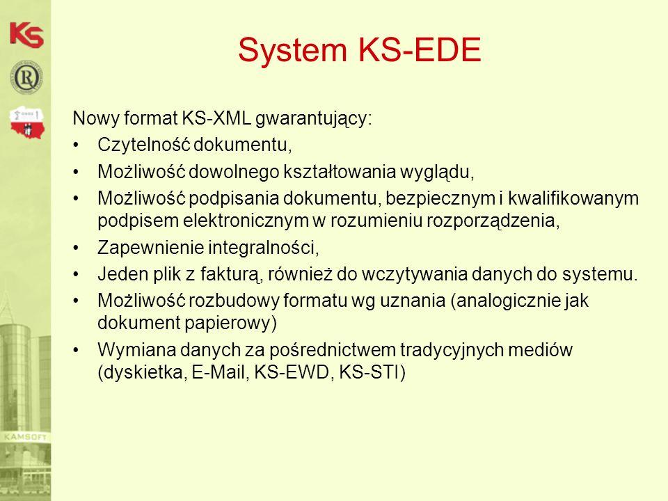 System KS-EDE Narzędzie do bezpiecznego przechowywania dokumentów: Składowanie plików w bazie danych, Logowanie operacji pobrania i wstawienia pliku, Logowanie operacji wydruku dokumentu, Logowanie operacji podglądu dokumentu, Integracja z systemami KAMSOFT, Automatyczne wstawianie dok.