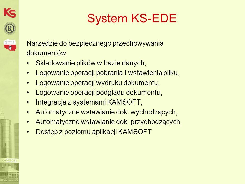 System KS-EDE Rejestracja akceptacji odbiorców i dostawców: Akceptacja odbiorcy do przyjmowania dokumentów, Akceptacja organizacji do przyjmowania dokumentów, Data obowiązywania akceptacji, Akceptacja na różne typy dokumentów, Rejestracja dokumentów – załączników (e-mail, scan) Dostęp z kartoteki systemów KAMSOFT