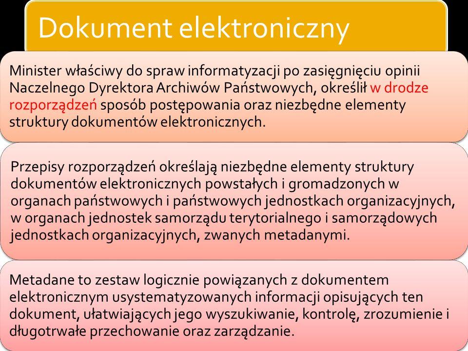 Dokument elektroniczny (inne ustawy) dokument elektroniczny - każdy przedmiot lub zapis na komputerowym nośniku danych, z którym jest związane określo