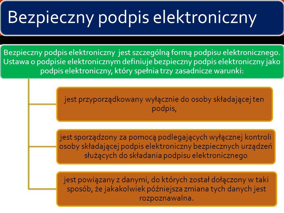 Podpis elektroniczny - rodzaje Ustawa rozróżnia: zwykły podpis elektroniczny bezpieczny podpis elektroniczny Ze względu na rodzaje certyfikatów, jakie