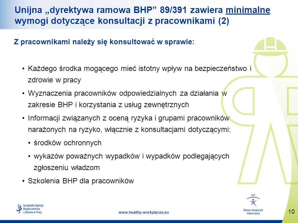 10 www.healthy-workplaces.eu Unijna dyrektywa ramowa BHP 89/391 zawiera minimalne wymogi dotyczące konsultacji z pracownikami (2) Z pracownikami należ