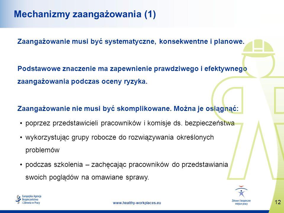 12 www.healthy-workplaces.eu Mechanizmy zaangażowania (1) Zaangażowanie musi być systematyczne, konsekwentne i planowe. Podstawowe znaczenie ma zapewn