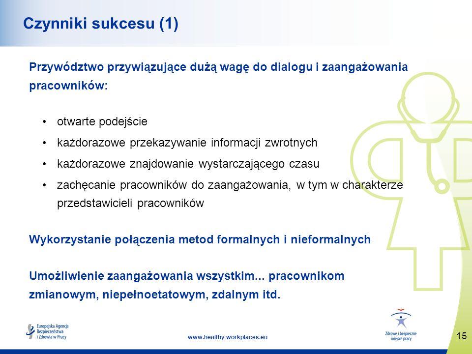 15 www.healthy-workplaces.eu Czynniki sukcesu (1) Przywództwo przywiązujące dużą wagę do dialogu i zaangażowania pracowników: otwarte podejście każdor