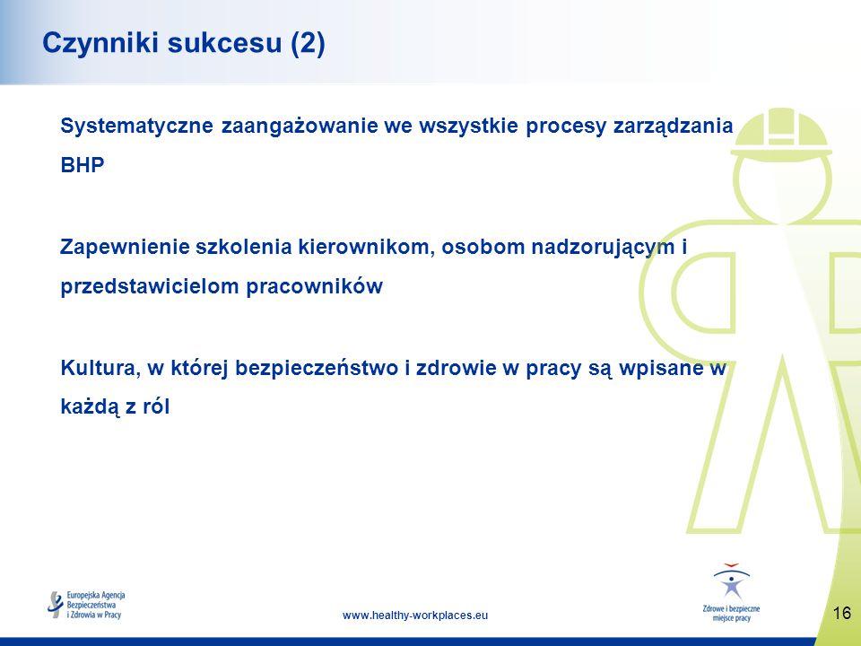 16 www.healthy-workplaces.eu Czynniki sukcesu (2) Systematyczne zaangażowanie we wszystkie procesy zarządzania BHP Zapewnienie szkolenia kierownikom, osobom nadzorującym i przedstawicielom pracowników Kultura, w której bezpieczeństwo i zdrowie w pracy są wpisane w każdą z ról