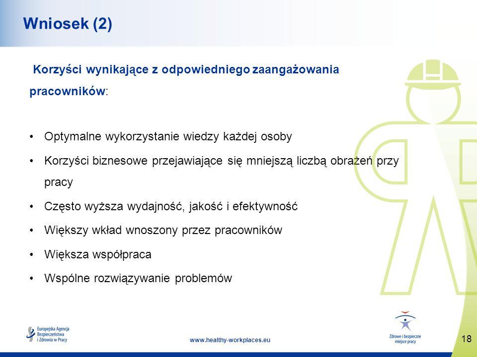18 www.healthy-workplaces.eu Wniosek (2) Korzyści wynikające z odpowiedniego zaangażowania pracowników: Optymalne wykorzystanie wiedzy każdej osoby Korzyści biznesowe przejawiające się mniejszą liczbą obrażeń przy pracy Często wyższa wydajność, jakość i efektywność Większy wkład wnoszony przez pracowników Większa współpraca Wspólne rozwiązywanie problemów