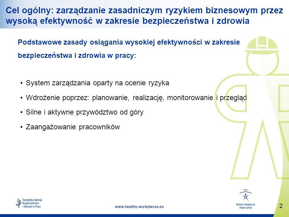 2 www.healthy-workplaces.eu Cel ogólny: zarządzanie zasadniczym ryzykiem biznesowym przez wysoką efektywność w zakresie bezpieczeństwa i zdrowia Podstawowe zasady osiągania wysokiej efektywności w zakresie bezpieczeństwa i zdrowia w pracy: System zarządzania oparty na ocenie ryzyka Wdrożenie poprzez: planowanie, realizację, monitorowanie i przegląd Silne i aktywne przywództwo od góry Zaangażowanie pracowników