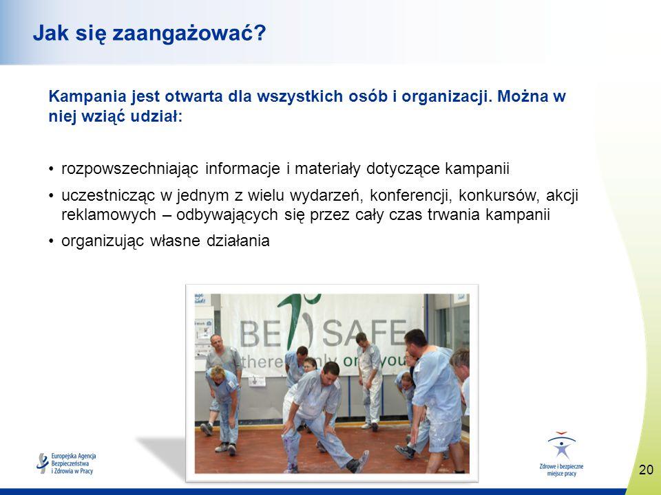 www.healthy-workplaces.eu Kampania jest otwarta dla wszystkich osób i organizacji. Można w niej wziąć udział: rozpowszechniając informacje i materiały