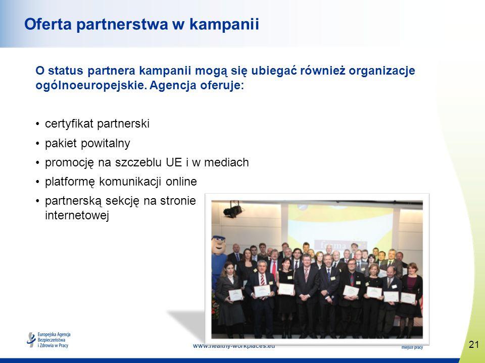 www.healthy-workplaces.eu O status partnera kampanii mogą się ubiegać również organizacje ogólnoeuropejskie. Agencja oferuje: certyfikat partnerski pa