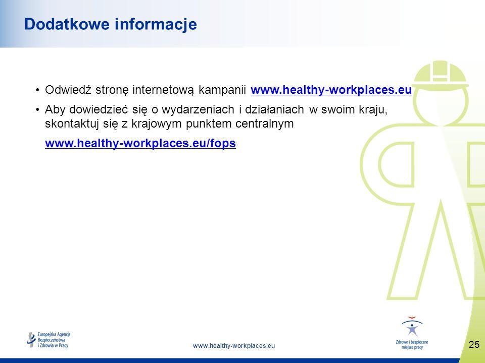 www.healthy-workplaces.eu Odwiedź stronę internetową kampanii www.healthy-workplaces.euwww.healthy-workplaces.eu Aby dowiedzieć się o wydarzeniach i działaniach w swoim kraju, skontaktuj się z krajowym punktem centralnym www.healthy-workplaces.eu/fops 25 Dodatkowe informacje