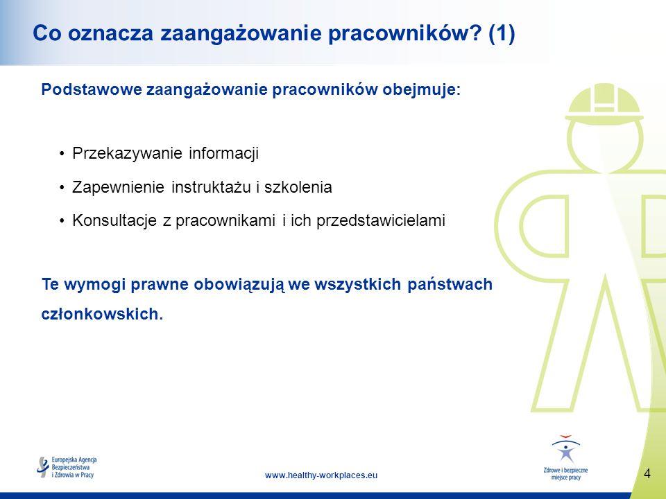 4 www.healthy-workplaces.eu Co oznacza zaangażowanie pracowników? (1) Podstawowe zaangażowanie pracowników obejmuje: Przekazywanie informacji Zapewnie