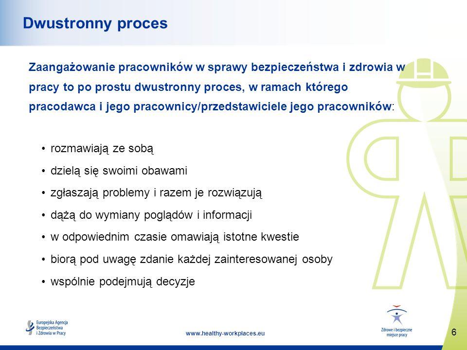 17 www.healthy-workplaces.eu Wniosek (1) Pełne zaangażowanie pracowników: Wymaga efektywnej komunikacji i konsultacji, zaufania i szacunku, współpracy i partnerstwa, rozmawiania, słuchania i współdziałania