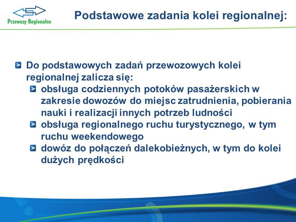 Podstawowe zadania kolei regionalnej: Do podstawowych zadań przewozowych kolei regionalnej zalicza się: obsługa codziennych potoków pasażerskich w zak