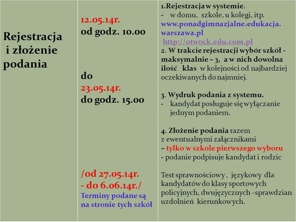 Rejestracja i złożenie podania 12.05.14r. od godz. 10.00 do 23.05.14r. do godz. 15.00 /od 27.05.14r. - do 6.06.14r./ Terminy podane są na stronie tych