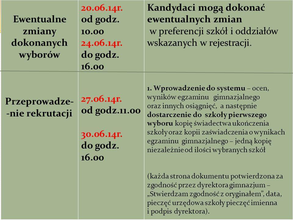 Ewentualne zmiany dokonanych wyborów Przeprowadze- -nie rekrutacji 20.06.14r. od godz. 10.00 24.06.14r. do godz. 16.00 27.06.14r. od godz.11.00 30.06.