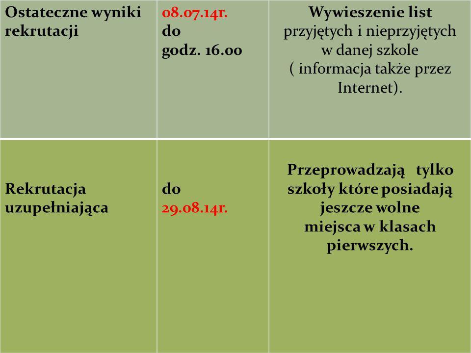 Ostateczne wyniki rekrutacji 08.07.14r. do godz. 16.00 Wywieszenie list przyjętych i nieprzyjętych w danej szkole ( informacja także przez Internet).