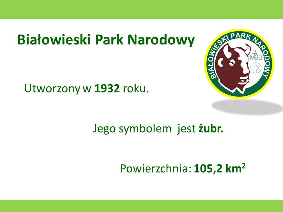 Białowieski Park Narodowy Utworzony w 1932 roku. Jego symbolem jest żubr. Powierzchnia: 105,2 km 2