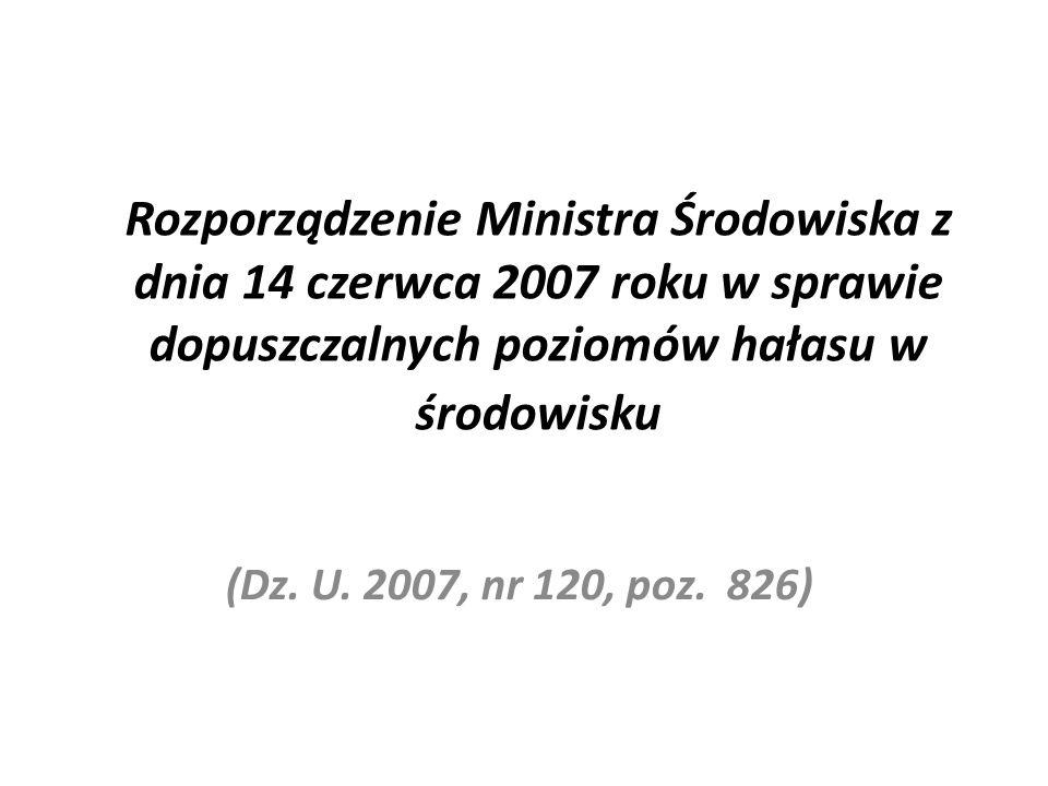 Rozporządzenie Ministra Środowiska z dnia 14 czerwca 2007 roku w sprawie dopuszczalnych poziomów hałasu w środowisku (Dz. U. 2007, nr 120, poz. 826)