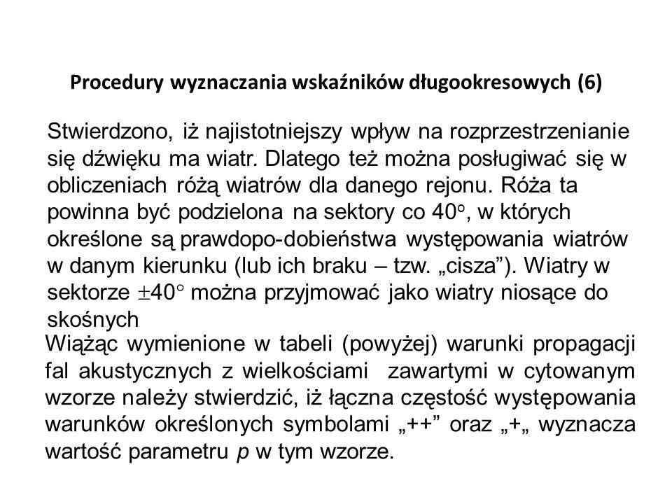 Procedury wyznaczania wskaźników długookresowych (6) Stwierdzono, iż najistotniejszy wpływ na rozprzestrzenianie się dźwięku ma wiatr. Dlatego też moż