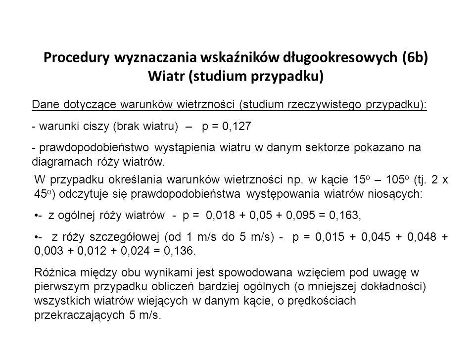Procedury wyznaczania wskaźników długookresowych (6b) Wiatr (studium przypadku) Dane dotyczące warunków wietrzności (studium rzeczywistego przypadku):