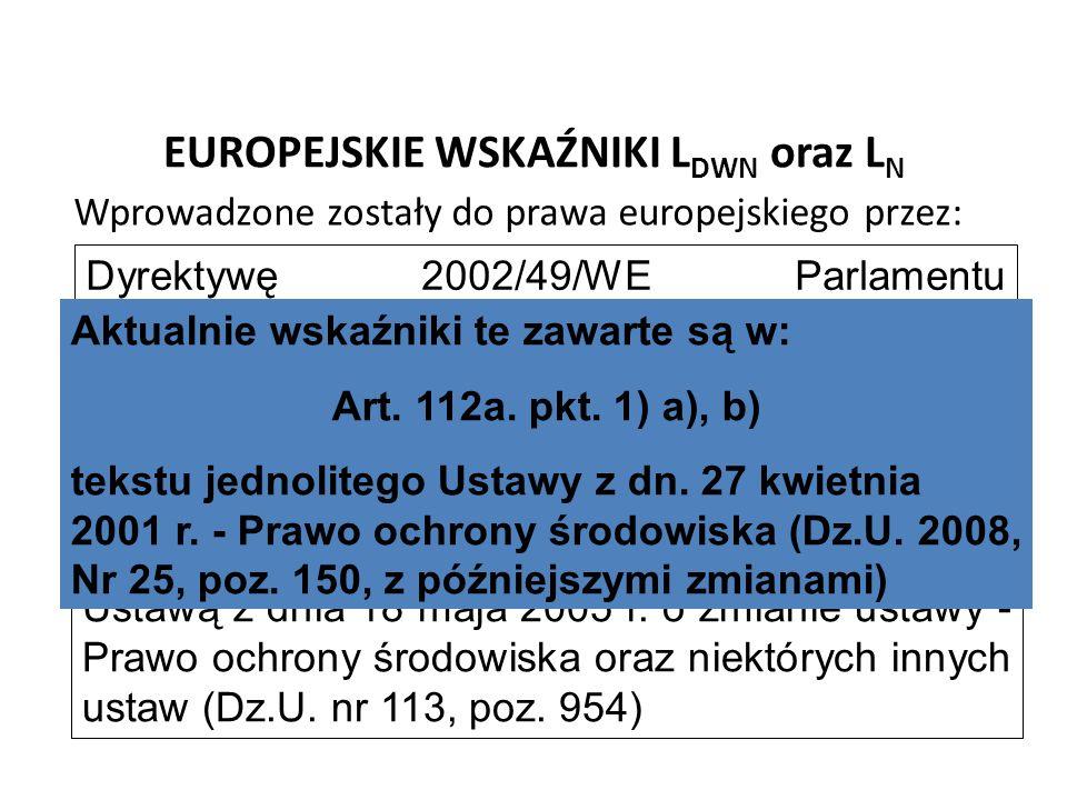 EUROPEJSKIE WSKAŹNIKI L DWN oraz L N Wprowadzone zostały do prawa europejskiego przez: Dyrektywę 2002/49/WE Parlamentu Europejskiego oraz Rady z dnia