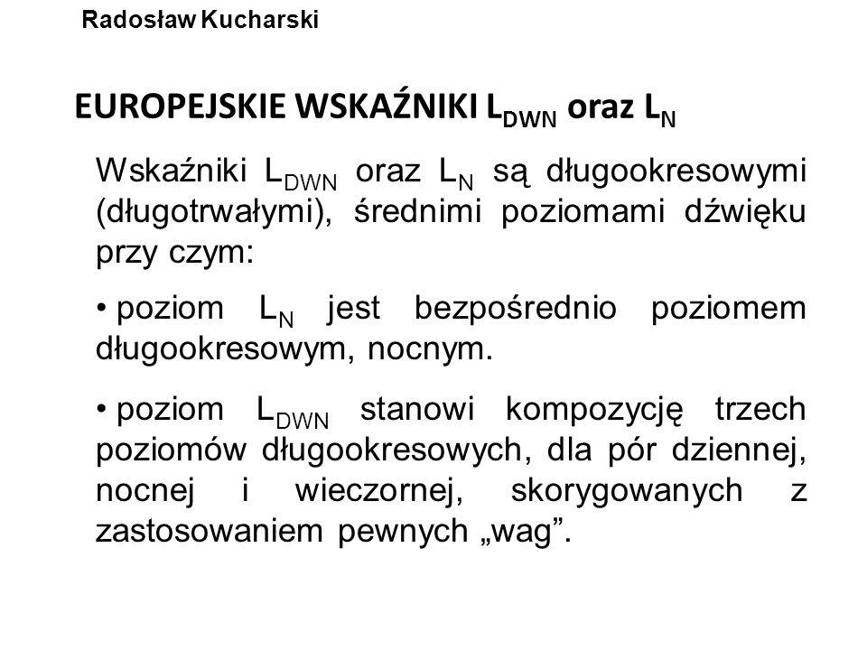 EUROPEJSKIE WSKAŹNIKI L DWN oraz L N Wskaźniki L DWN oraz L N są długookresowymi (długotrwałymi), średnimi poziomami dźwięku przy czym: Radosław Kucha