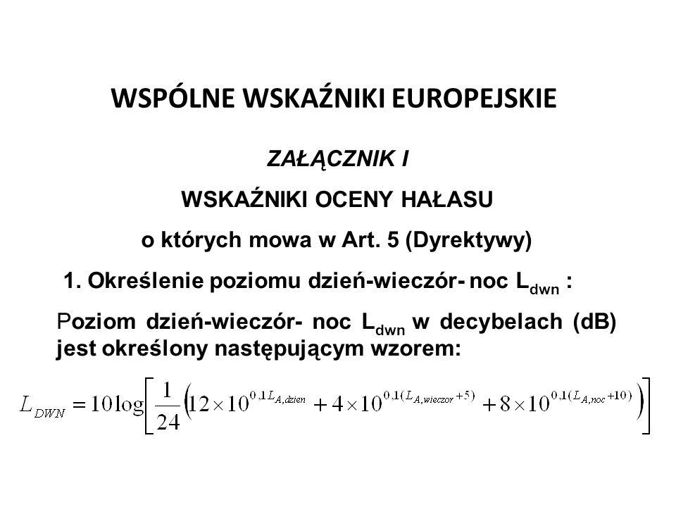 WSPÓLNE WSKAŹNIKI EUROPEJSKIE ZAŁĄCZNIK I WSKAŹNIKI OCENY HAŁASU o których mowa w Art. 5 (Dyrektywy) 1. Określenie poziomu dzień-wieczór- noc L dwn :