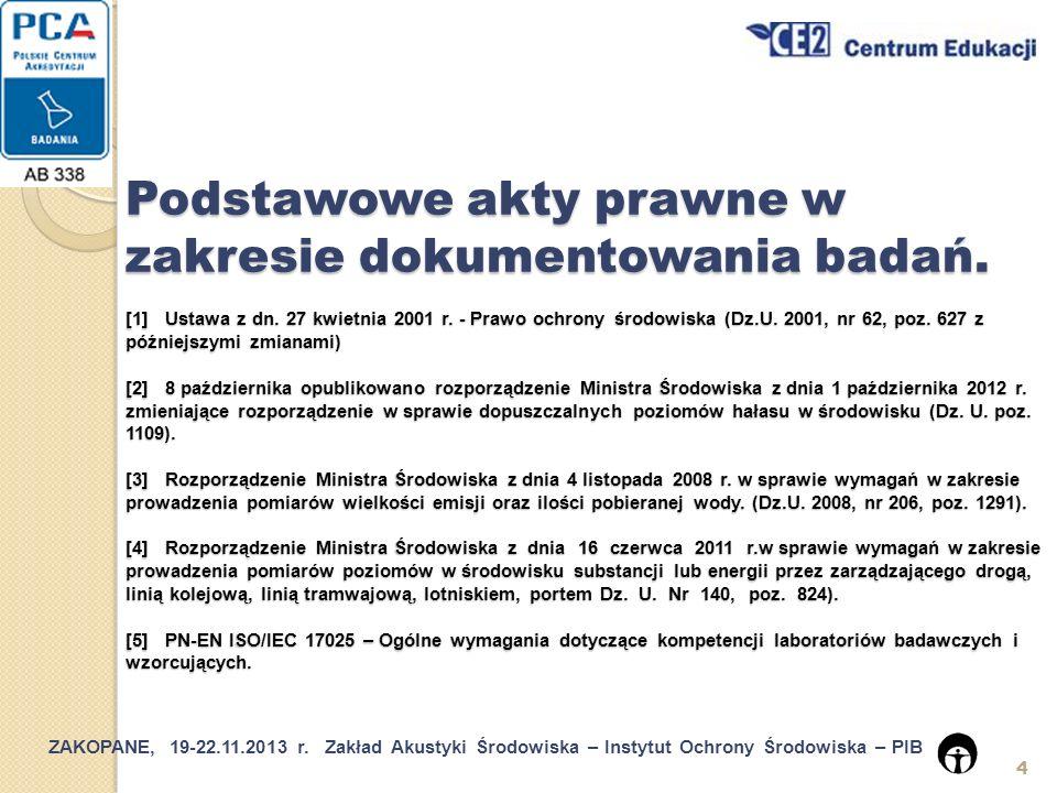 ZAKOPANE, 19-22.11.2013 r.Zakład Akustyki Środowiska – Instytut Ochrony Środowiska – PIB 25 5.4.7.