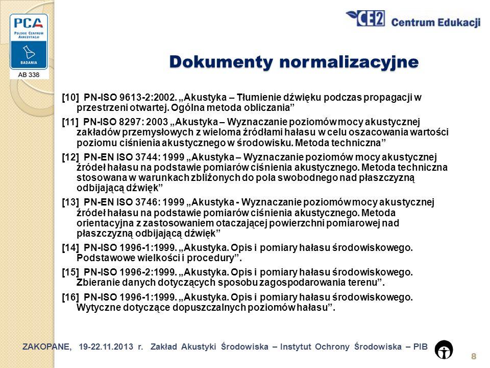 ZAKOPANE, 19-22.11.2013 r.Zakład Akustyki Środowiska – Instytut Ochrony Środowiska – PIB 29 5.6.