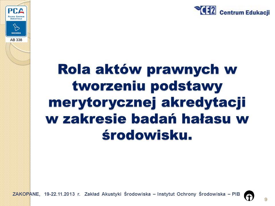 ZAKOPANE, 19-22.11.2013 r.Zakład Akustyki Środowiska – Instytut Ochrony Środowiska – PIB 20 5.2.