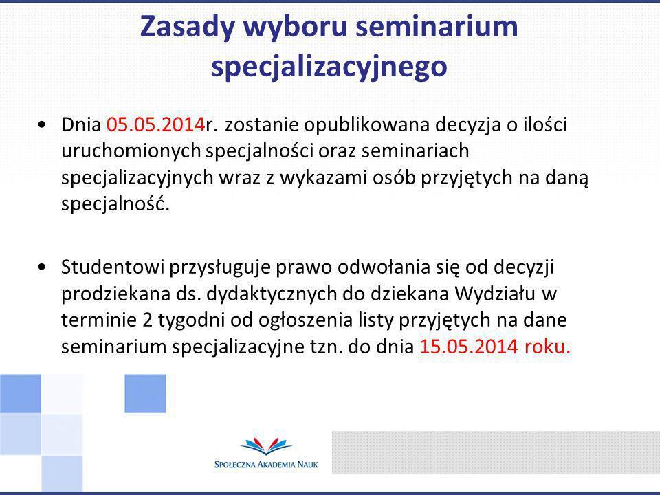 Dnia 05.05.2014r. zostanie opublikowana decyzja o ilości uruchomionych specjalności oraz seminariach specjalizacyjnych wraz z wykazami osób przyjętych