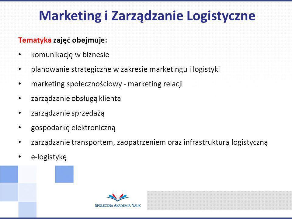 Tematyka zajęć obejmuje: komunikację w biznesie planowanie strategiczne w zakresie marketingu i logistyki marketing społecznościowy - marketing relacji zarządzanie obsługą klienta zarządzanie sprzedażą gospodarkę elektroniczną zarządzanie transportem, zaopatrzeniem oraz infrastrukturą logistyczną e-logistykę Marketing i Zarządzanie Logistyczne
