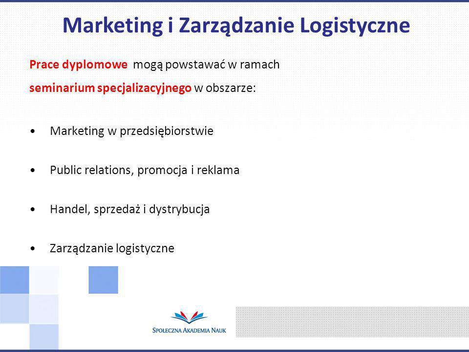 Prace dyplomowe mogą powstawać w ramach seminarium specjalizacyjnego w obszarze: Marketing w przedsiębiorstwie Public relations, promocja i reklama Handel, sprzedaż i dystrybucja Zarządzanie logistyczne Marketing i Zarządzanie Logistyczne