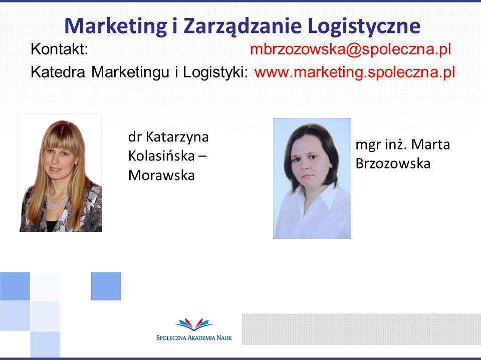 Kontakt: mbrzozowska@spoleczna.pl Katedra Marketingu i Logistyki: www.marketing.spoleczna.pl Marketing i Zarządzanie Logistyczne dr Katarzyna Kolasińs