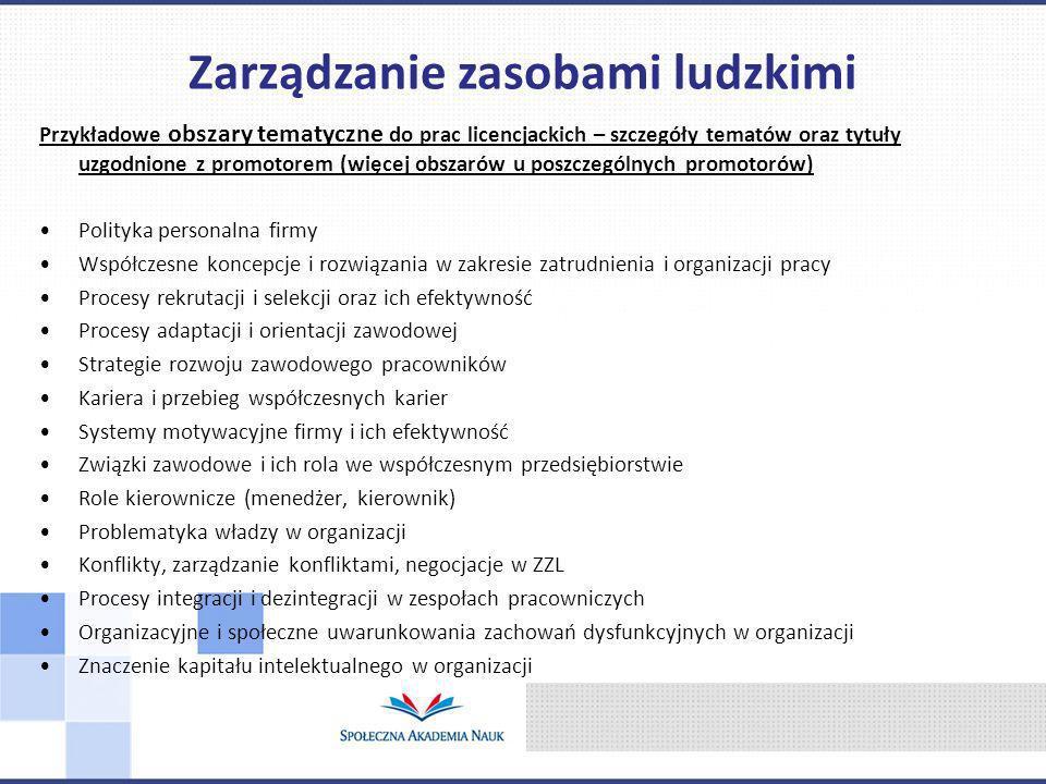 Przykładowe obszary tematyczne do prac licencjackich – szczegóły tematów oraz tytuły uzgodnione z promotorem (więcej obszarów u poszczególnych promoto