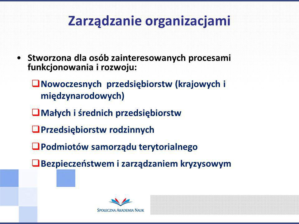 Stworzona dla osób zainteresowanych procesami funkcjonowania i rozwoju: Nowoczesnych przedsiębiorstw (krajowych i międzynarodowych) Małych i średnich przedsiębiorstw Przedsiębiorstw rodzinnych Podmiotów samorządu terytorialnego Bezpieczeństwem i zarządzaniem kryzysowym Zarządzanie organizacjami