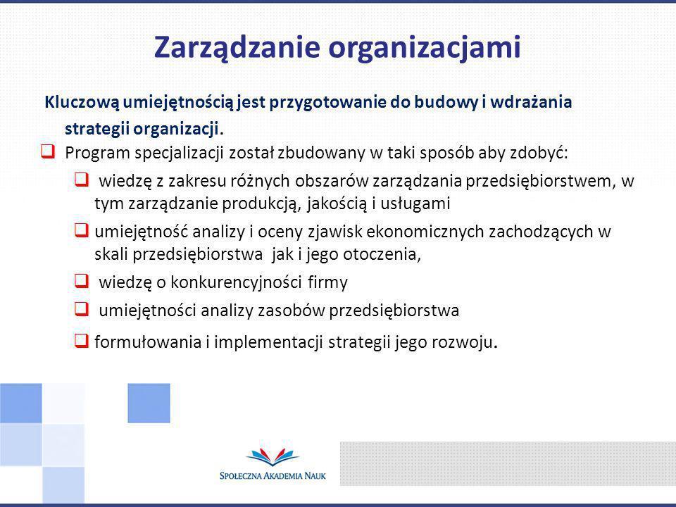 Kluczową umiejętnością jest przygotowanie do budowy i wdrażania strategii organizacji. Program specjalizacji został zbudowany w taki sposób aby zdobyć